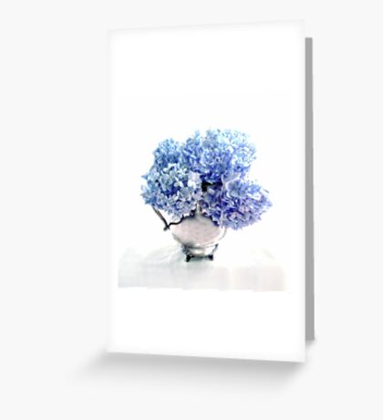 Endless Summer Hydrangeas in an Antique Silver Pitcher Greeting Card