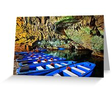 Boat ride in the underworld - Diros caves Greeting Card