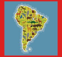 South America Animal Map Green One Piece - Short Sleeve