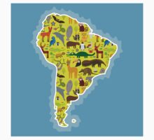South America Animal Map Green One Piece - Long Sleeve