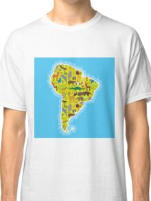 South America Animal Map Green Classic T-Shirt