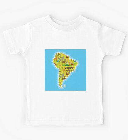 South America Animal Map Green Kids Tee