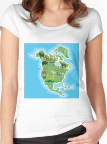 Northern America Animal Map Green Women's Fitted Scoop T-Shirt