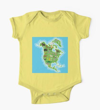 Northern America Animal Map Green One Piece - Short Sleeve