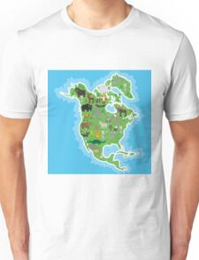 Northern America Animal Map Green Unisex T-Shirt