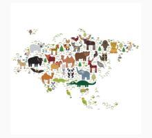 Eurasia Animal Map Simple One Piece - Short Sleeve