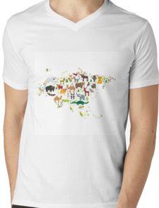 Eurasia Animal Map Simple Mens V-Neck T-Shirt