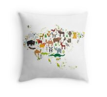 Eurasia Animal Map Simple Throw Pillow
