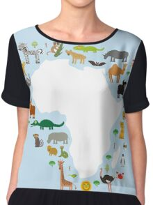 African White Map with Animals Chiffon Top