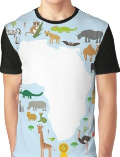 African White Map with Animals Graphic T-Shirt