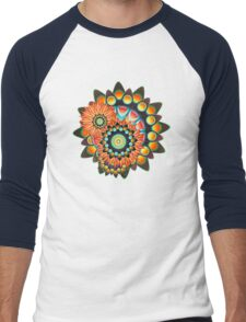 Happy Colorful Psychedelic Cool Funky Pattern Men's Baseball ¾ T-Shirt
