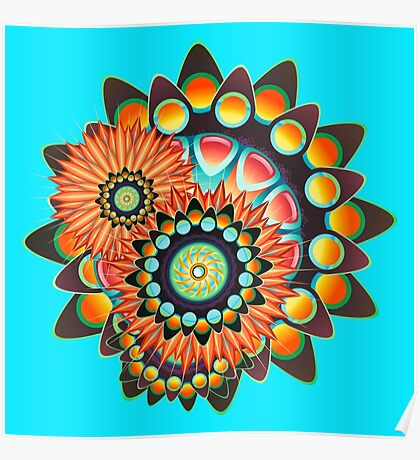 Happy Colorful Psychedelic Cool Funky Pattern Poster