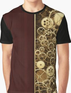 Steampunk Gears half wood Graphic T-Shirt