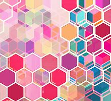 Rainbow Honeycomb - colorful hexagon pattern by micklyn