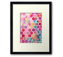 Rainbow Honeycomb - colorful hexagon pattern Framed Print