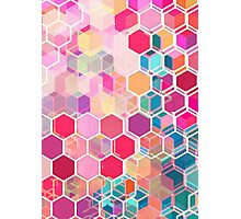 Rainbow Honeycomb - colorful hexagon pattern Photographic Print
