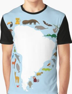 South America White Map with Animals Graphic T-Shirt