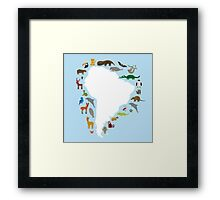 South America White Map with Animals Framed Print