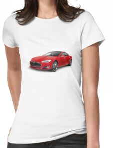 Tesla Model S red luxury electric car photo print Womens Fitted T-Shirt