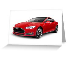 Tesla Model S red luxury electric car photo print Greeting Card