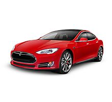 Tesla Model S red luxury electric car photo print Photographic Print