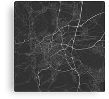 Clermont Ferrand, France Map. (White on black) Canvas Print