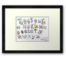 Animal inspired Alphabet Framed Print