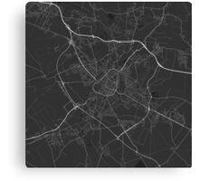 Douai, France Map. (White on black) Canvas Print
