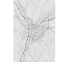 Grenoble, France Map. (Black on white) Photographic Print