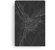 Grenoble, France Map. (White on black) Canvas Print