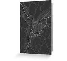 Grenoble, France Map. (White on black) Greeting Card