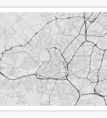 Lille, France Map. (Black on white) Sticker