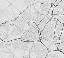 Lille, France Map. (Black on white) by Graphical-Maps