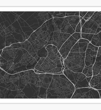 Lille, France Map. (White on black) Sticker