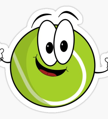Happy cartoon tennis ball character Sticker