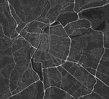 Lyon, France Map. (White on black) by Graphical-Maps