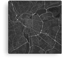 Lyon, France Map. (White on black) Canvas Print