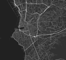 Marseille, France Map. (White on black) Sticker