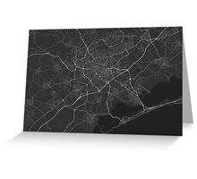Montpellier, France Map. (White on black) Greeting Card