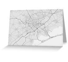 Montpellier, France Map. (Black on white) Greeting Card