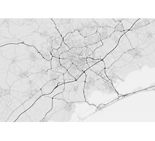 Montpellier, France Map. (Black on white) Photographic Print
