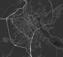 Nancy, France Map. (White on black) by Graphical-Maps