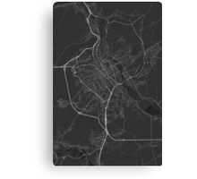 Nancy, France Map. (White on black) Canvas Print