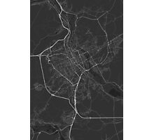 Nancy, France Map. (White on black) Photographic Print
