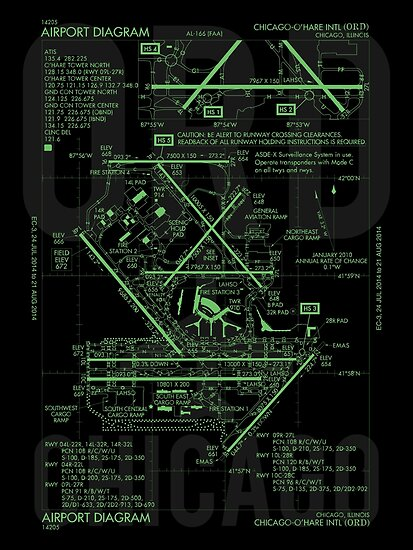 YHM Designs - ORD Chicago Airport Diagram Poster