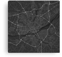 Nantes, France Map. (White on black) Canvas Print