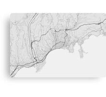 Nice, France Map. (Black on white) Canvas Print