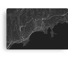 Nice, France Map. (White on black) Canvas Print
