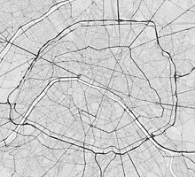 Paris, France Map. (Black on white) by Graphical-Maps