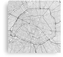 Paris, France Map. (Black on white) Metal Print